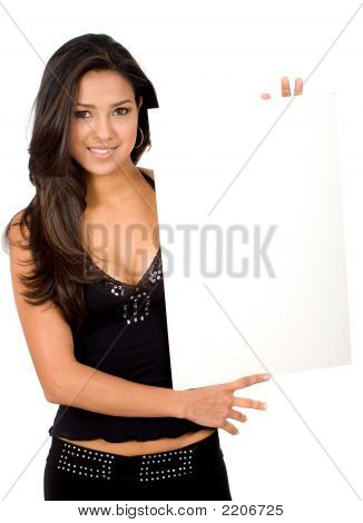 Sexy Girl Holding A Banner Add