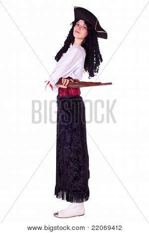 A woman dressed as a pirate pistol
