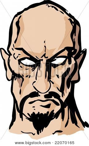 Evil sinister cruel goateed satanic man with goatee, hand-drawn vector  illustration