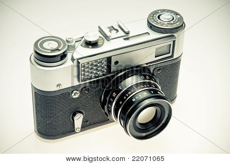 Old Photography Camera In Vintage Style