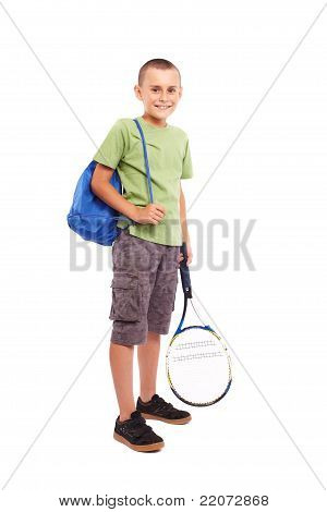 Child With Tennis Racket And Backpack