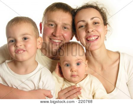 Family Of Four Faces Isolated 2