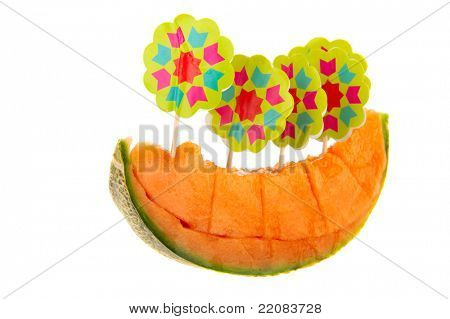 Fresh orange slice of Cantaloupe melon on white background
