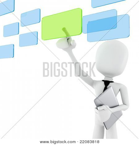 3d man business man making choice, on white background