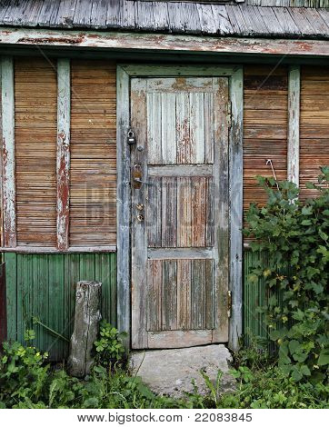 Old Door Of Ramshackle House.