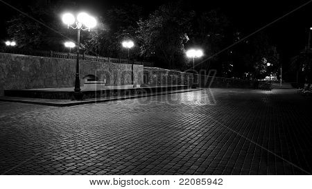 Dark streets of European cities. Black and White