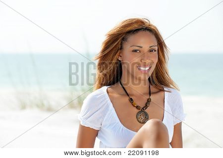African American Woman On A Beach