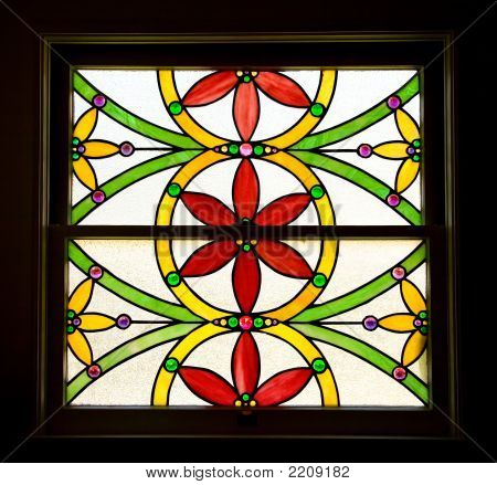 Stained Glass Window Of Stylized Flowers