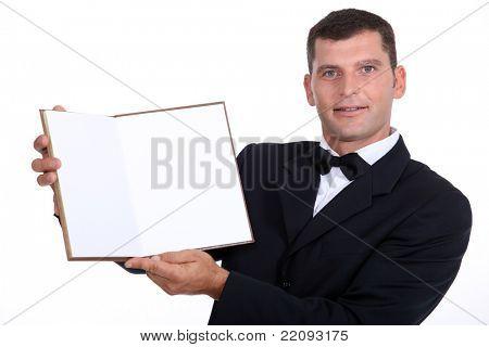 waiter showing menu