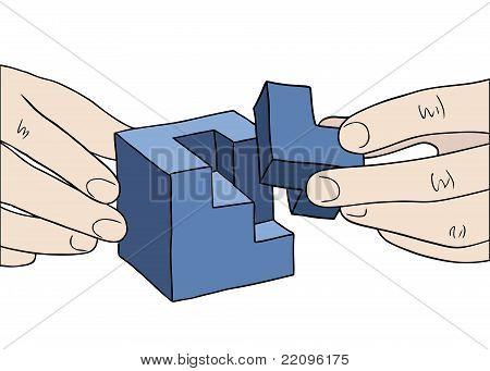 Human Hands Assembling Blue Cube Vector