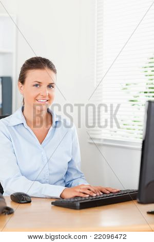 Smiling Secretary In Office