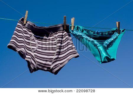 Gender concept mens cotton boxers & silk panties