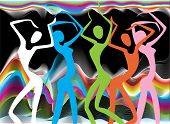 stock photo of brazilian carnival  - Colorful stylized silhouettes of dancing girls at the carnival - JPG