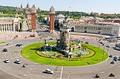 Placa Espanya In Barcelona And National Palace poster