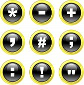 picture of semi-colon  - set of symbol icons on black glossy buttons isolated on white - JPG