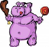 pic of fat lip  - Cute fat greedy hippo animal cartoon - JPG