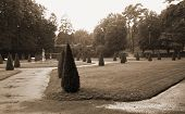 stock photo of courtier  - Gardens of the palace in Rogalin  - JPG