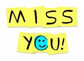 image of miss you  - The words Miss You written on yellow sticky notes - JPG