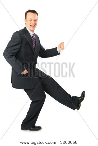 Dynamic Businessman In Black Suit