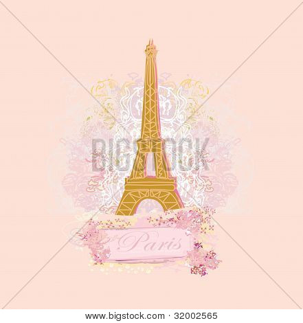 Vintage retro tarjeta de Eiffel, vector illustration