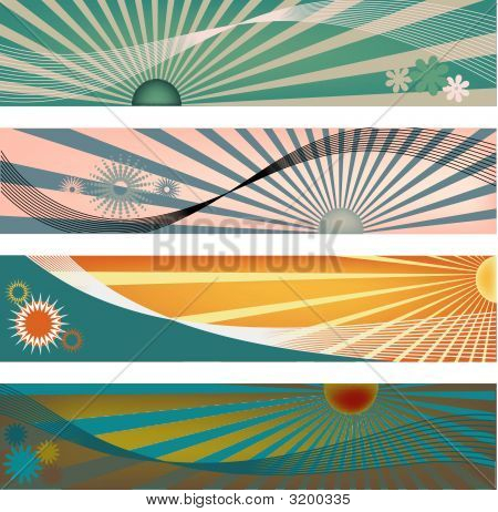 Four Sun Ray Header Backgrounds