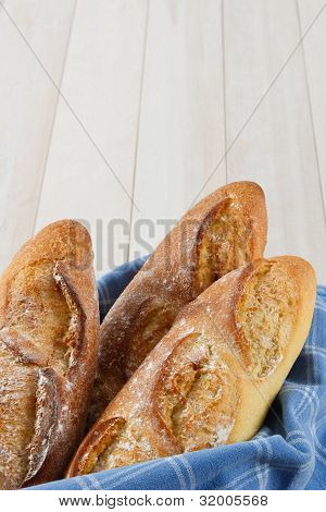 Three Crusty Baguettes With Copy Space