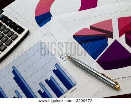 Multiple Sales Charts And Pen