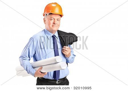 Portrait of a mature construction worker with helmet holding blueprints isolated on white background