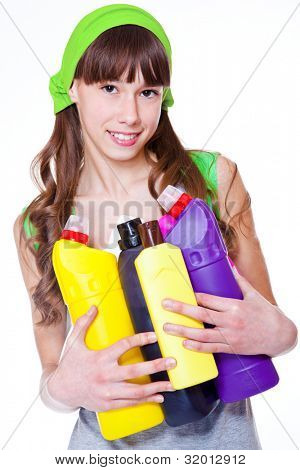 Teen with detergents, over white