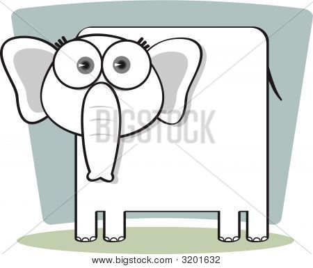 Cartoon Elephant In Black And White