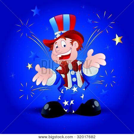 Cheerful Uncle Sam Vector