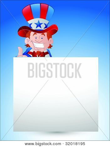 Uncle Sam with Paper Banner
