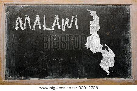 Outline Map Of Malawi On Blackboard