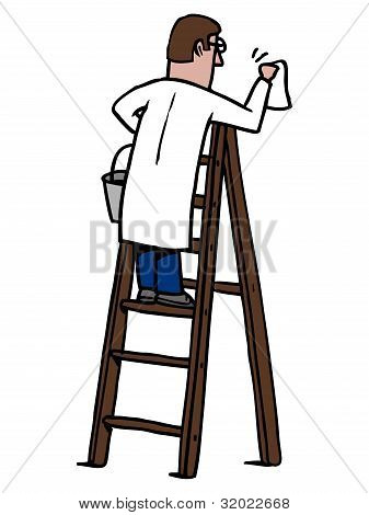 Man cleaning on a ladder