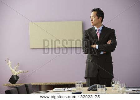 Asian businessman with arms crossed