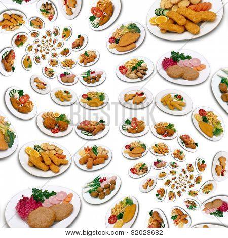 Fülle von Huhn essen Windung Muster