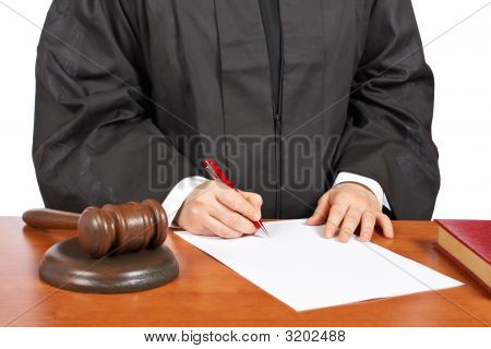 Female Judge Sign To Blank Court Order