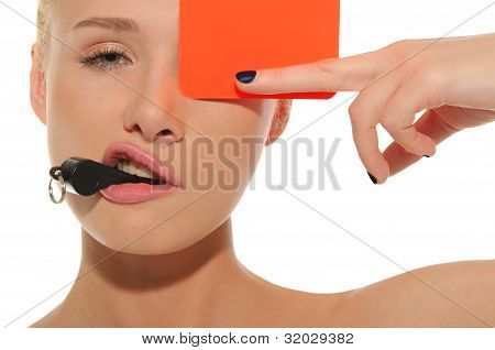 Beautiful Woman With Whistle And Red Card