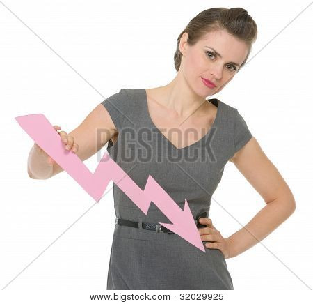 Serious Business Woman Holding Decreasing Chart Arrow Isolated