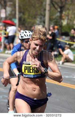 Sheri Piers races up Heartbreak Hill during the Boston Marathon