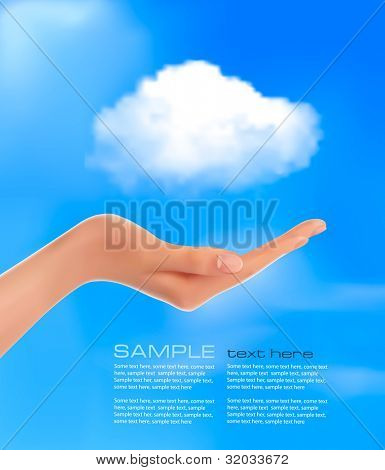 Cloud computing concept. Hand with blue sky and white cloud. Vector.