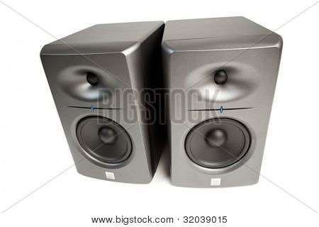 studio audio monitors - high-end sound speakers, isolated on white