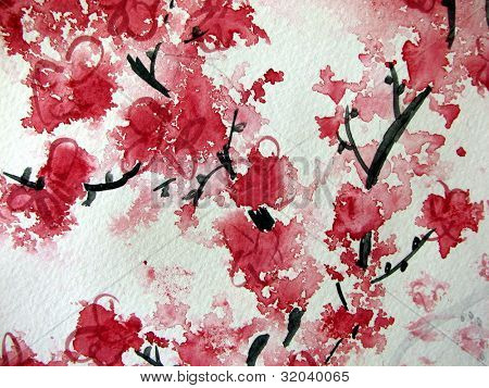 Cherry Blossom watercolor on paper
