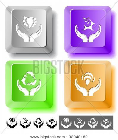 Animal icon set. Protection nature, deer in hands, bird in hands, bee in hands.  Computer keys. raster illustration.