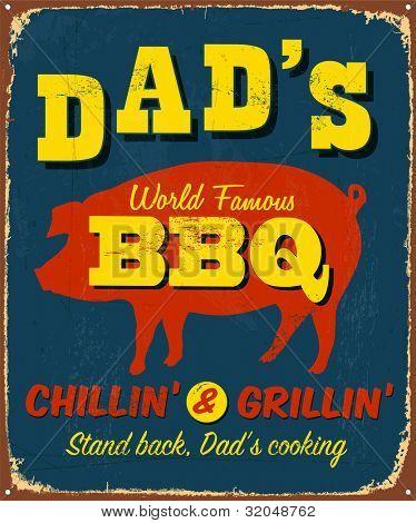 Vintage metal sign - Dad's BBQ - Raster Version