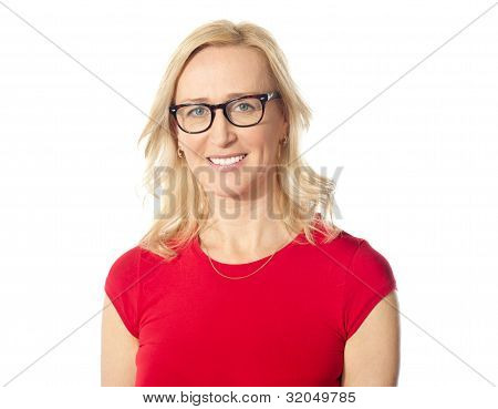 Smiling Aged Beautiful Lady Posing With Eyewear