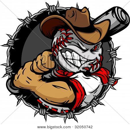 Cartoon Cowboy Baseball Face Holding Baseball Bat