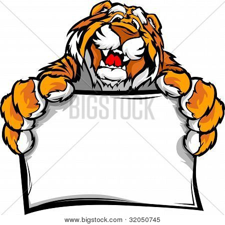 Graphic Vector Image Of A Happy Cute Tiger Mascot Holding Sign