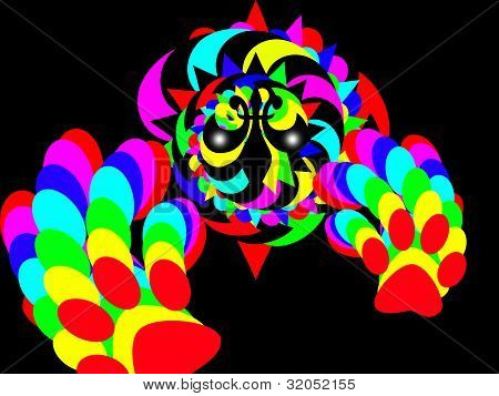 colourful Clown with hand