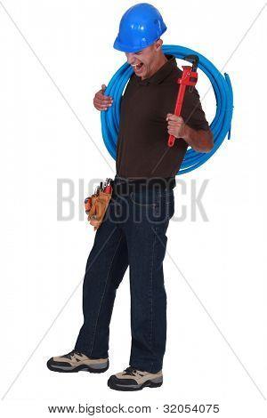 Yawning plumber
